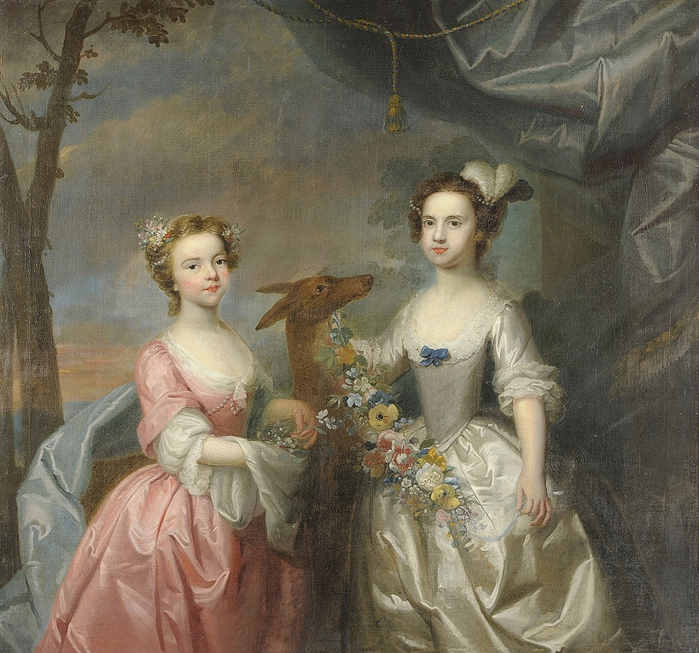 Circle of Joseph Highmore (1692-1780)Daughters of Crisp Molineaux, Elizabeth, afterwards Lady Barnaby (700x653, 385Kb)