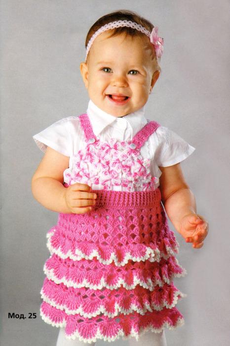 Ажурный сарафан для девочки на 1-1,5 года связан крючком 2. Пряжа 60% шерсть и 40% ПАН. вязание детям.