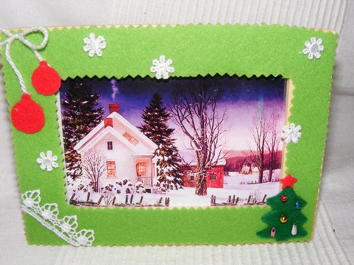 Карандашом, новогодняя открытка из фетра для детей