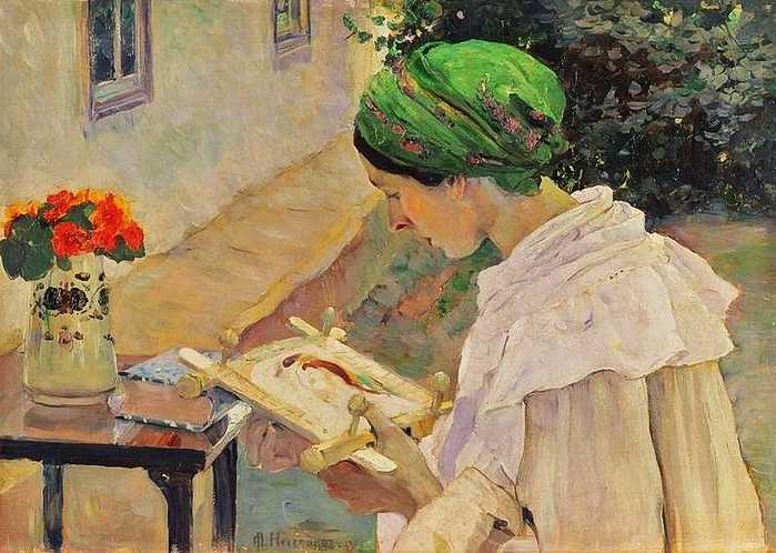 _Mikhail_Vasil'evich_Nesterov_(Russian_Painter,_1862-1942)_Embroidery_1909_(2) (700x498, 312Kb)