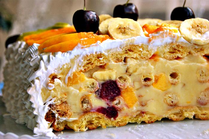 Торт с кремом чиз и бананами