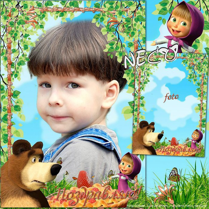 1332586630_Children_frame_Masha_and_Bear_2_by_Neco (700x700, 432Kb)
