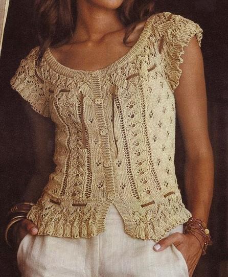 Летняя вязаная спицами блузка.