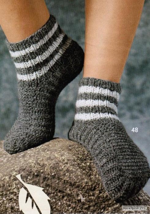 схема вязания мужских носков спицами