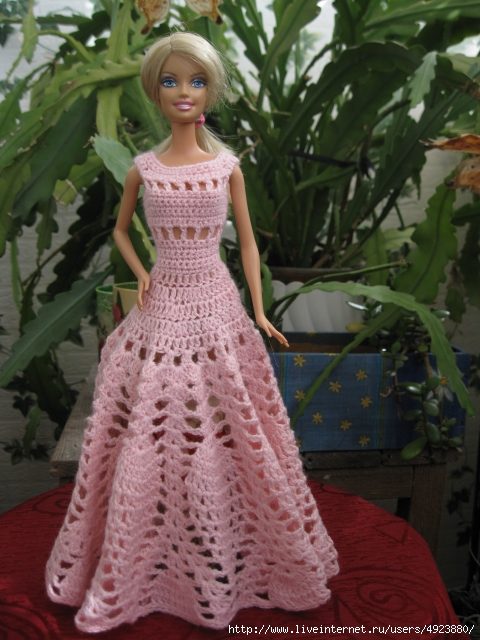 Вязания платья крючком для барби