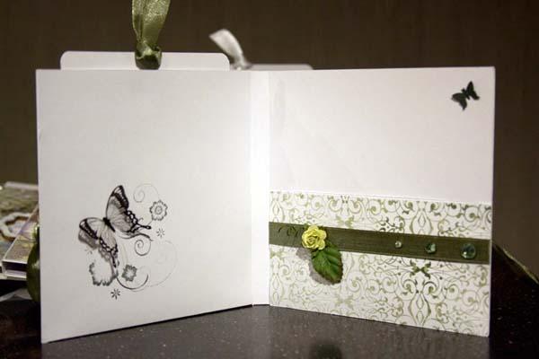 Оформление свадебной открытки внутри