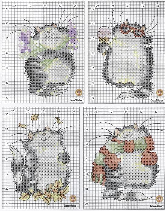 Схемы вышивок с котами