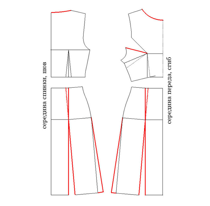 линии по бедер отрезное платье выкройка