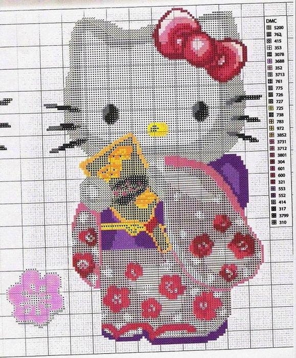Схема вышивки Снупи и Китти.  Обновление сумки.  Переделка .