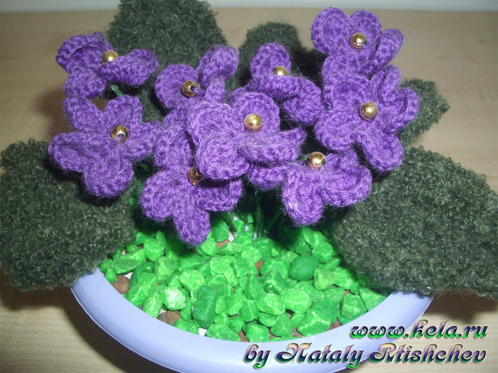 вязание крючком цветы в горшочках сумки