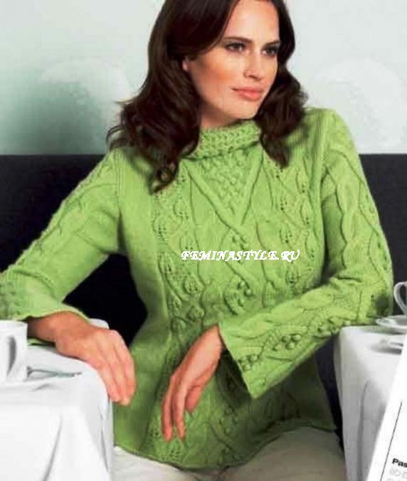 вязание пуловера листьями
