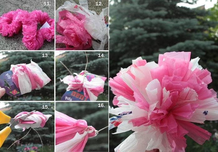 Цветы из целлофановых пакетов фото курсах