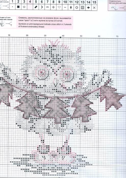 схемы вышивки совы крестом ожерелье для елочки