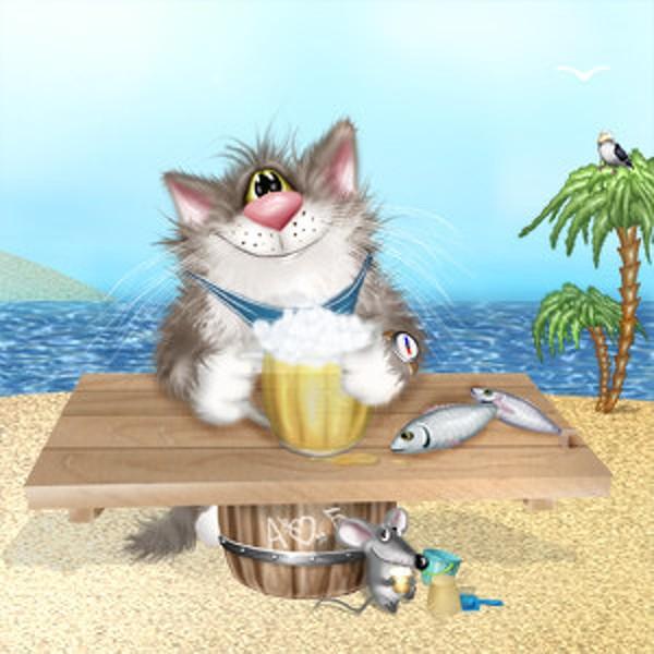Открытка с днем рождения кот и рыба, открытки днем