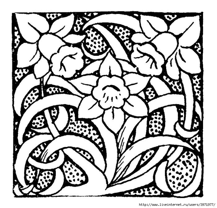 Картинки в квадрате узора из растительных форм