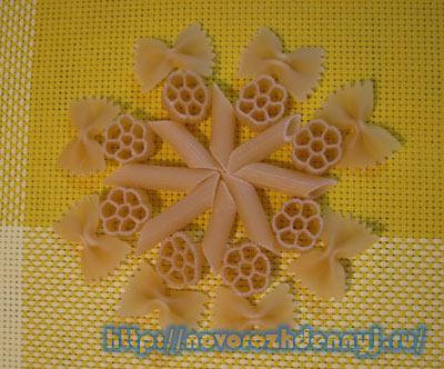 Новогодние украшения своими руками - снежинка из макарон Уход за новорожденным