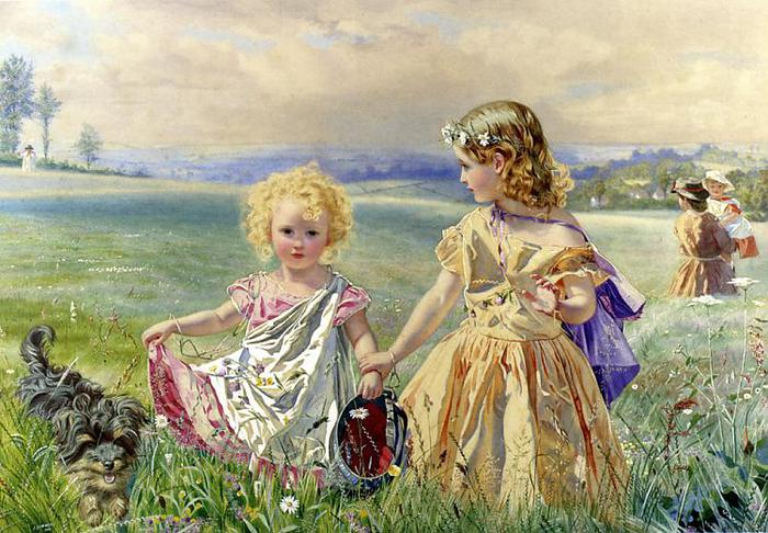 Children Garlanded with Flowers in a Meadow, by J_ Deane Simmons (700x486, 79Kb)
