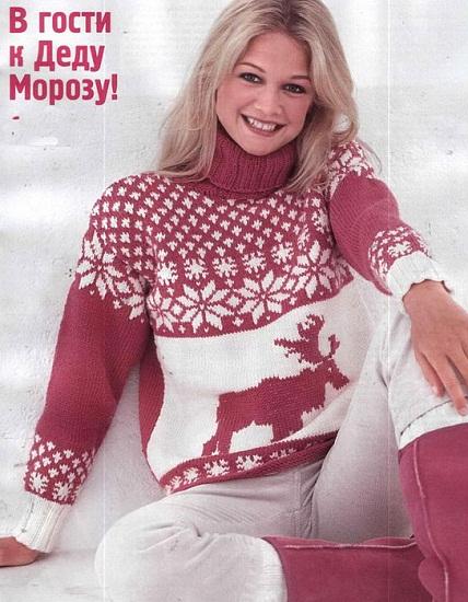 Схема свитера с оленями женский спицами фото 263