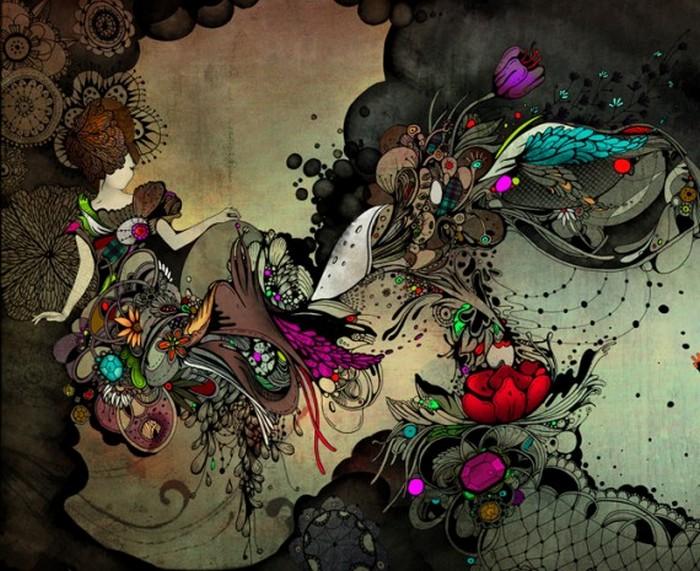 Красочные фэшн иллюстрации Linn Olofsdotter 11 (700x571, 135Kb)