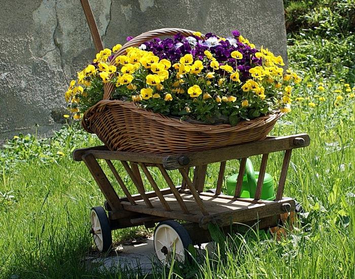 Тележки садовые декоративные для цветов купить в Хитсад
