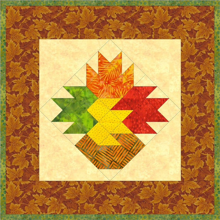 Leaf Vase One Block Wall Quilt (700x700, 206Kb)