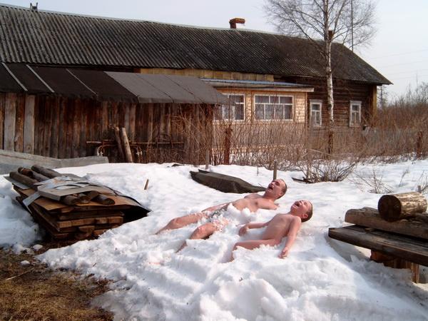 Прикольные картинки из бани в снег