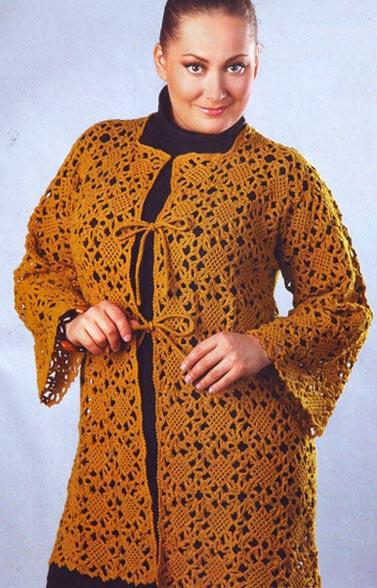 Схемы вязания крючком кардиганов для полных женщин 39