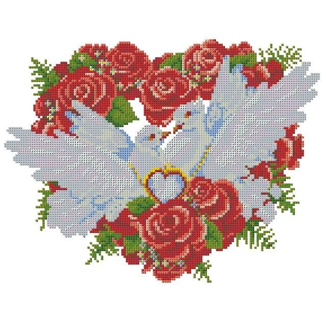 Вышивки свадебные голуби