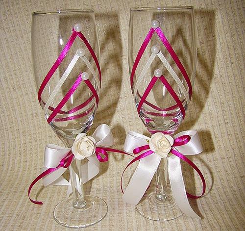Идеи украшения свадебных бокалов Вместе рядом
