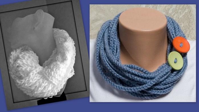 Получается круглый шарф, шарф - хомут.  Вязанный шарф крючком.