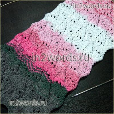схема вязания ажурного шарфа спицами