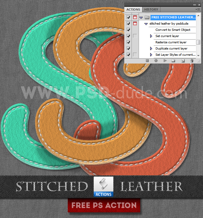 Stitched Leather Photoshop Free Action (650x700, 646Kb)