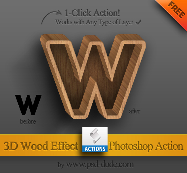 3D Wood Text Photoshop Free Action (650x601, 223Kb)