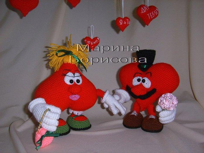 Вязаные игрушки сердечки крючком