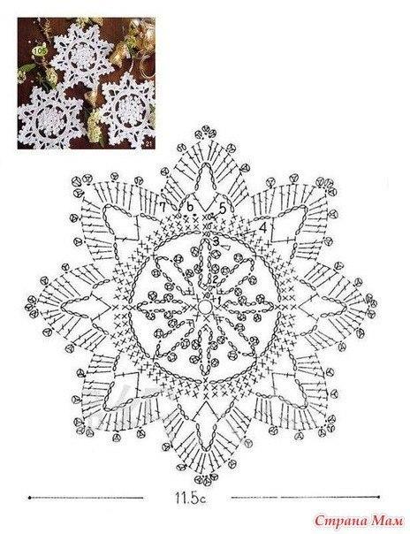 Вязаные снежинки крючком схемы