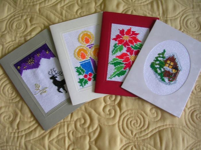 Новогодняя вышивка открытка