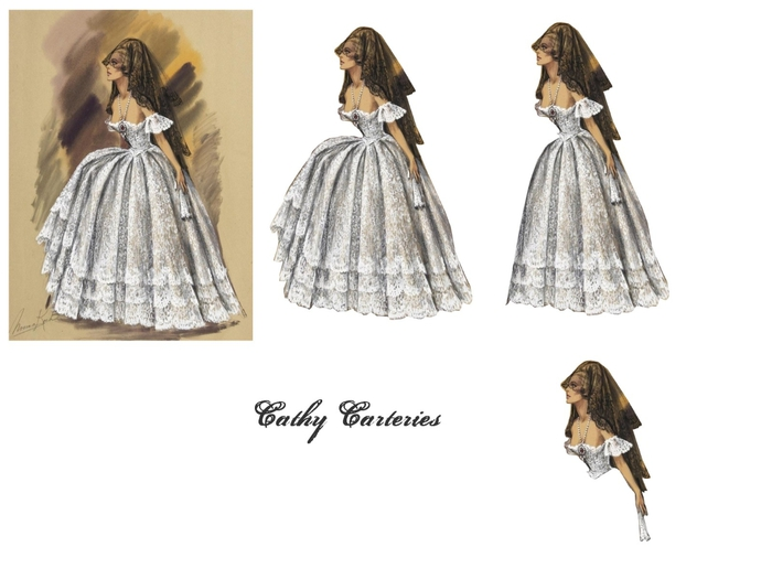 femme robe blanche et mantille noire (700x525, 137Kb)