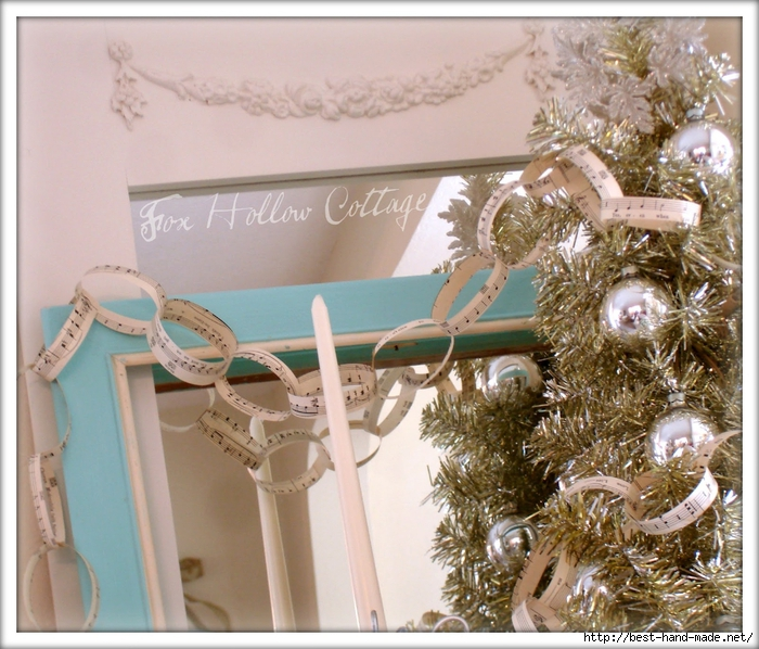 Sheet Music Garland, Vintage, Tinsel Tree, Aqua, Silver (700x598, 339Kb)