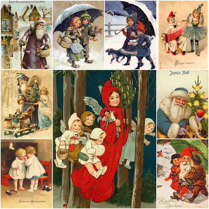 Ручной, новогодние открытки 20 века