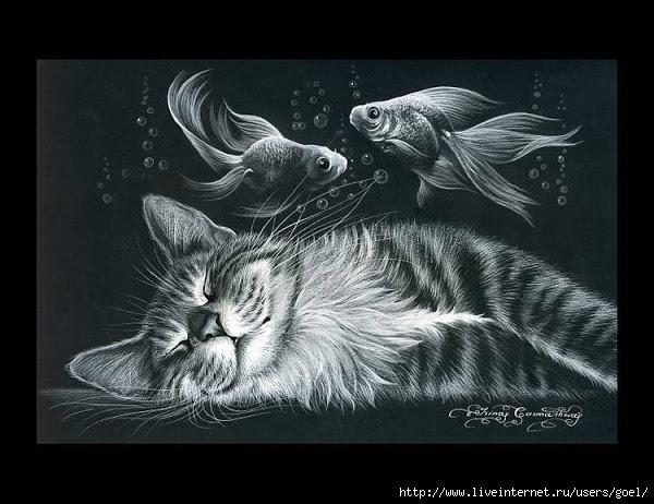 Вышивка котов на черной канве 254