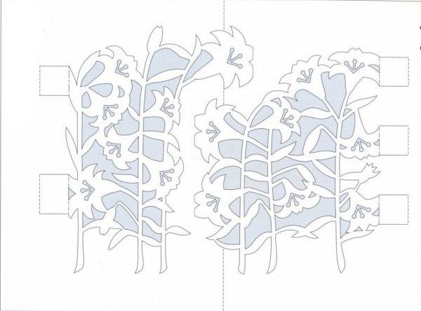 Киригами открытка для начинающих с цветами