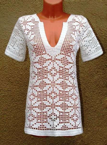 Филейное вязание блузки схемы описание