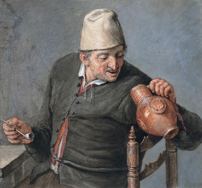Cornelis_Dusart_-_Roker_kijkend_in_een_kruik[1] 1 (700x654, 482Kb)