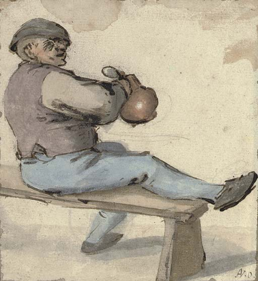A seated drinker holding an earthenware pot  (512x559, 62Kb)