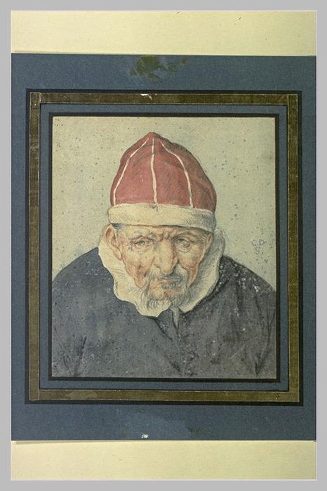 Vieillard coiffé d'un bonnet pointu, vu en buste (466x700, 102Kb)