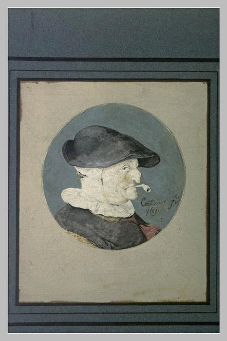 Vieille femme, de profil à droite, une pipe à la bouche (466x700, 93Kb)