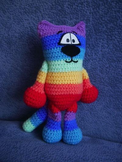 Вязаный разноцветный котик