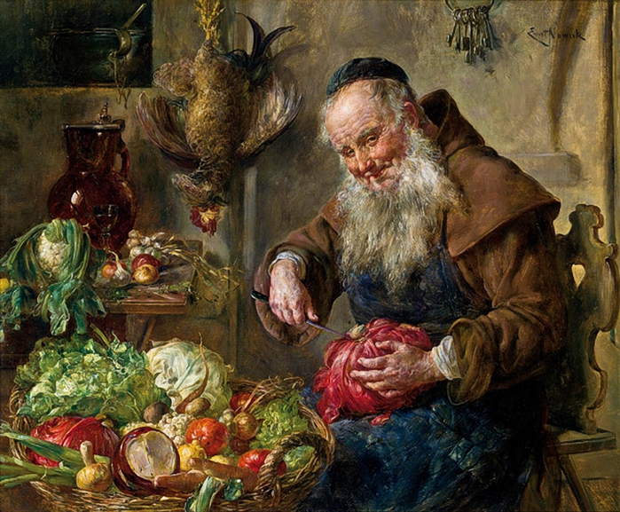 ernst Nowak1851-1919- Monk In The Kitchen (700x577, 375Kb)
