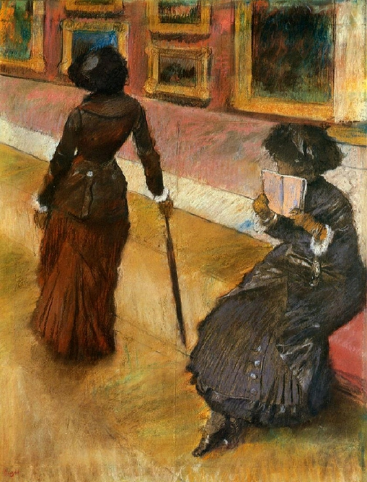 Mary Cassatt at the Louvre (1879-1880). Edgar Degas (French, Impressionism, 1834-1917). (533x700, 321Kb)