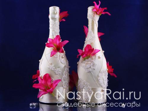 Свадебные бутылки в обмотке, с орхидеями